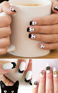 Shop Cute White Kawaii Kitty Cat Minx Nail Art created by sharecolors. Cat Nail Designs, Manicure Nail Designs, Nail Manicure, Nails Design, Gel Nail, Nail Polish, Cat Nail Art, Cat Nails, Coffin Nails