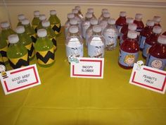 A picture of drinks at a Snoopy themed birthday party - Photo © Apryl Duncan