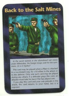 Back to The Salt Mines Illuminati CCG Assassins Plot Card 1995 . Illuminati: New World Order (INWO) is a collectible card game (CCG) that was released in 1995[1] by Steve Jackson Games, based on their original boxed game Illuminati, which in turn was inspired by The Illuminatus! Trilogy. INWO won the Origins Award for Best Card Game in 1997.