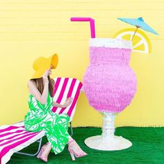 Holy crp batman how enormous is this cocktail pinata by the fabulous @studiodiy  #cocktail #pinata #diy #studiodiy #pink by rubyrabbitparty