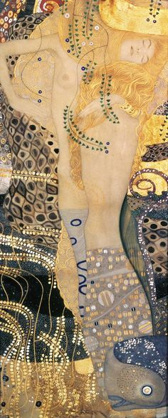 We had a Klimt show not too long ago and I fell in love with the colors and patterns. Gustav Klimt. Water Serpents II, c.1907