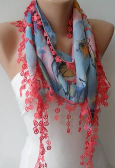 Blue and Orange Scarf with Salmon Trim Edge  Summer by SwedishShop, $14.90