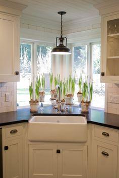 Kitchen sink window. plants, farm sink....: