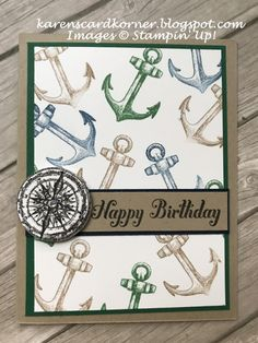 Stampin' Up! Sailing Home Masculine Birthday Card TGIF peeps! Can you believe this is the last day of January. Remember when it used to seem like it was the longest month of the year for those of us who lived in the snow and cold? Well, living in Masculine Birthday Cards, Birthday Cards For Men, Handmade Birthday Cards, Masculine Cards, Birthday Greeting Cards, Cards For Men Handmade, Card Birthday, Men Birthday, Tarjetas Stampin Up