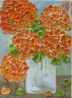 Orange hydrangea impasto oil painting on a 6x8 canvas with wide 7/8 edge heavy braced studio canvas. Please measure space for 6x8 canvas. Edges