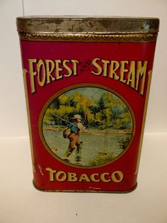 Hard to FInd Fisherman Version Forest & Stream Tobacco Pocket Tin Can Canada