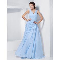 A-line V-neck Floor-length Chiffon Evening Dress With  Criss Cross Bodice – US$ 179.99