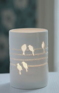 Birds on a Wire maxi tealight in thrown ivory white porcelain from