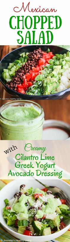 Mexican Chopped Salad with Creamy Cilantro Lime Greek Yogurt Avocado Dressing - 100% oil free dressing - the dressing is so creamy that no one will guess it's healthy