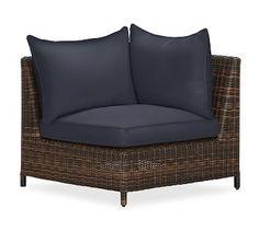 Torrey Sectional Corner Cushion Slipcover, Sunbrella(R) Navy