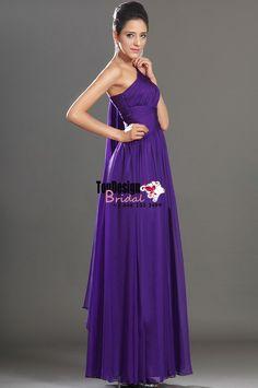 Wholesale Vestidos De Fiesta 2017 Brand New Evening Party Gown One Shoulder Beading Purple Chiffon Prom Dresses