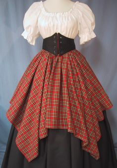 Overlay Skirt for Costume  Red Tartan Plaid by stitchintimedesigns, $32.00