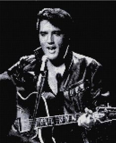 Elvis in a gorgeous black and white portrait taken during his 1968 Comeback concert, at the pinnacle of his career cross stitch pattern! It would make a wonderful gift for your favorite Elvis fan or just keep it for yourself. Our charts are unlike any other available! Each color is on