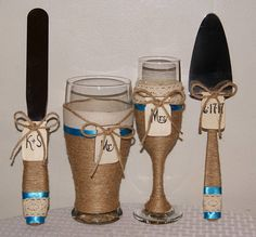 Country Western Wedding Glasses and Cake by CarolesWeddingWhimsy, This set of  Rustic Wedding Champagne Glass and Beer Glass with Cake Serving Set can be embellished with your choice of ribbon and  your choice of Heart Tags or Mason Jar Tags...finished with chalkboard paint or unfinished wood.  You can find them here  https://www.etsy.com/listing/449301614/country-western-wedding-glasses-and-cake