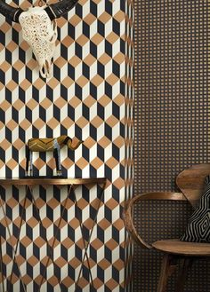 PIN 2: Cole & Son Delano Wallpaper from Gaudion. The Delano Wallpaper takes its name from the famous Art Deco hotel on South Beach and is available in 5 colours. This intense tile motif is quite extreme and may not have the same impact if overused.