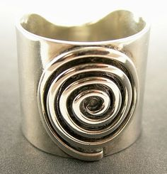 Spiral Ring Wide Sterling Silver Jewelry by JenniferWood on Etsy Sterling Silver Layered Necklace, Layered Necklaces Silver, Sterling Silver Jewelry, Silver Bracelets, Silver Earrings, Garnet Necklace, Pendant Necklace, 925 Silver, Cuff Bracelets