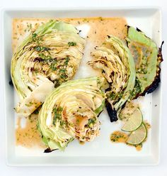 Grilled cabbage wedges with spicy lime dressing. For all the CSA cabbage.