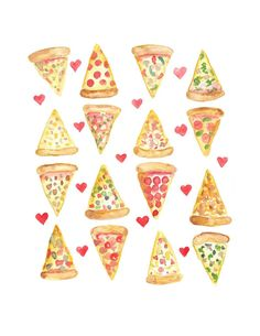 PIZZA LOVE Watercolor Print 8.5 x 11 by Glitteracy on Etsy