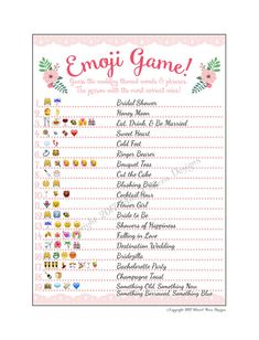 INSTANT DOWNLOAD! - This listing is for a DIGITAL FILE - a PDF file will be sent to you after you purchase the listing. You can then print as many copies as you would like in the comfort of your own home. How easy is that!? Super fun, unique game for your guests! Emoji