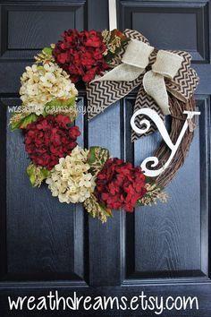 Burgundy Hydrangea Monogram Grapevine Wreath w/ by WreathDreams
