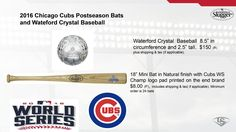 "Finally! The #Cubs did it as only they could. Lifting fans up then closing the deal with style. Way to go Cubs!  Now is your chance to close some deals. Here's a Louisville Slugger 18"" commemorative bat & a shiny 2.5"" Waterford Crystal baseball for your clients, to use as corporate gifts or to give to friends/families. These also make great holiday gifts.  Min. bat order: 24 units, Baseballs, 1 unit Terms: PREPAY ONLY Quantity discounts available. Contact us to order! #cubsgifts #MLB"