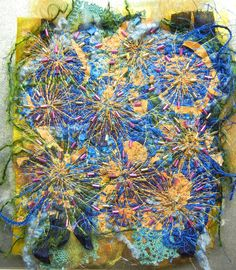 """Created with fabrics, fibres, threads, beading, free motion stitching and water soluble stabilizer. 6"""" x 6"""" """"Fireworks"""""""