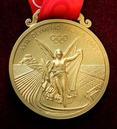 Close-ups of Olympic medals - The gold medal for the 2008 Beijing Olympic Games… 1988 Olympics, Beijing Olympics, Summer Olympics, Football Medals, London 2012 Game, Olympic Winners, Olympic Gold Medals, Asian Games, Commonwealth Games
