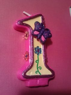 Blingy, Sparkly, Butterfly and Flower Handpainted Birthday Candle via Etsy
