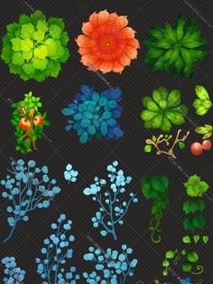 Hand-Painted Game Textures - Plants, Flowers and Foliage Map Painting, Texture Painting, Environment Concept Art, Environment Design, Digital Painting Tutorials, Art Tutorials, Casual Art, Game Textures, Hand Painted Textures