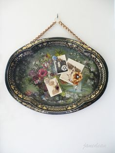 Magnetic Memo Board- up-cycled shabby vintage enamel tray. I used to have a tray just like this. Vintage Crafts, Shabby Vintage, Vintage Silver, Vintage Jewelry, Upcycled Vintage, Vintage Ideas, Shabby Chic, Silver Platters, Silver Trays