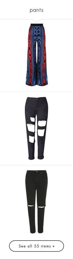 """pants"" by w-eird ❤ liked on Polyvore featuring pants, bottoms, jacquard trousers, blue trousers, jacquard pants, wide-leg pants, vintage trousers, jeans, clothing - trousers and pantalon"