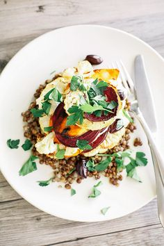 lemon rosemary vegetable stack with lentils + creamy horseradish vinaigrette / The First Mess