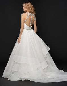 Hayley Paige Fall 2017 Bridal - SLOANE (Style # Ivory silk crepe gown with full layered organza overskirt, jewel neckline of moonstone and alabaster. Princess Wedding Dresses, Best Wedding Dresses, Boho Wedding Dress, Modest Wedding, Tulle Wedding, Mermaid Wedding, 2017 Bridal, Bridal Gowns, Hayley Paige Bridal