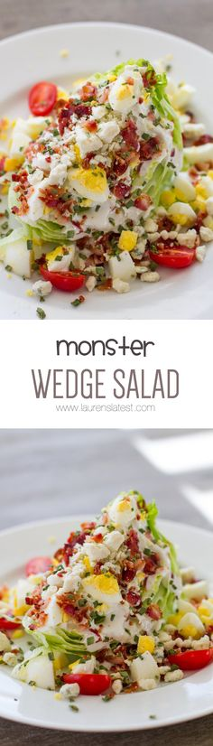 Iceberg Wedge Salad The wedge is probably one of the simplest salads you can make because you literally cut a head of lettuce into drench it in some homemade dressing and throw on a bunch of toppings. And good grief its amazing. Wedge Salad Recipes, Salad Recipes Low Carb, Diet Recipes, Cooking Recipes, Healthy Recipes, Delicious Recipes, Diet Tips, Atkins Recipes, Bariatric Recipes
