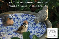 Aged Ceramic Blue And White Bird Bath Ceramic Bird Bath, Ceramic Birds, Bird Bath Garden, Esschert Design, Garden Ornaments, Decoration, Garden Sculpture, Blue And White, Patio