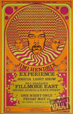 Jimi Hendrix Fillmore East Concert Poster Bill Graham / Fantasy Unlimited 1968 Poster Art and Graphic Design by David Byrd Rock Posters, Band Posters, Film Posters, Vintage Concert Posters, Posters Vintage, Vintage Movies, Retro Posters, Psychedelic Rock, Psychedelic Posters