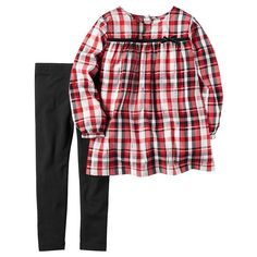 Baby Girl Carter's Red Metallic Plaid Top & Leggings Set, Size: