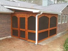 Cedar screen room with solid arches