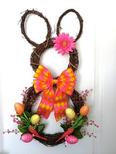 Items similar to Carrot Easter Bunny Wreath Grapevine Bunny wreath Easter Eggs Rabbit wreath spring Wreath Easter Door Hanger Front door Wreaths decoration on Etsy Diy Osterschmuck, Easter Festival, Diy Ostern, Diy Easter Decorations, Easter Wreaths, Handmade Home Decor, Crafts To Do, Easter Crafts, Wreaths