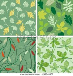 Collection of vector seamless patterns with leaves