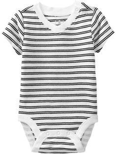 Striped V-Neck Bodysuits for Baby