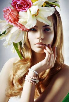 Okay...the hair is dominated by flowers...but still summer gorgeous | #beauty #hair | www.notjustpowder.com