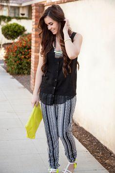 Jogger pants, tribal, black and yellow, white sandals, Bellami hair extensions, chiffon tank