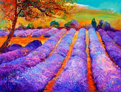 Picture of Original oil painting of lavender fields on canvas.Modern Impressionism stock photo, images and stock photography. Modern Impressionism, Impressionist Art, Large Painting, Texture Painting, Art Pictures, Photos, Surrealism Painting, Sunset Landscape, Lavender Fields