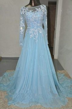 Baby Blue Long Sleeves Lace Beading Chiffon Prom Dresses K97