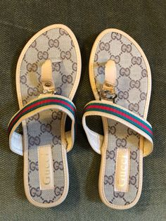 adec31d8db1 Gucci Leather   Canvas Sandals US 9.5 Women s Flats GG Logo Beige Size EU  41  fashion  clothing  shoes  accessories  womensshoes  sandals (ebay link)