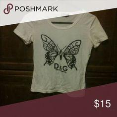 D&G Butterflysshirt Form fitting. Soft comfy. Dolce & Gabbana Tops Crop Tops