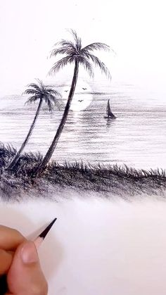 Another amazing drawing video from Burning Pencil / Tiktok. Art Drawings Sketches Simple, Dark Art Drawings, Art Drawings Beautiful, Pencil Art Drawings, Nature Sketches Pencil, Landscape Pencil Drawings, Beautiful Dark Art, Landscape Sketch, How To Draw Sketches