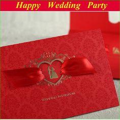 Romantic Vintage Bridal Groom Wedding Invitation With Ribbon: Red Card Free Customizing Printable