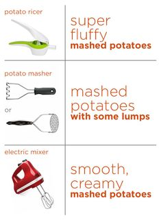 The tool you use to mash your potatoes will determine the texture of your mashed potatoes.